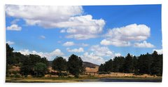 Lake Cuyamac Landscape And Clouds Bath Towel