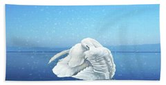 Lake Effects And The Trumpeter Swan Bath Towel by Janette Boyd