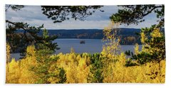 Lake Hiidenvesi Autumnscape 3 Bath Towel
