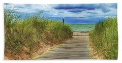 Hand Towel featuring the photograph Lake Huron Boardwalk by Bill Gallagher