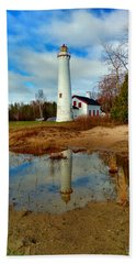 Lake Huron Lighthouse Hand Towel by Michael Rucker