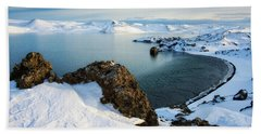 Lake Kleifarvatn Iceland In Winter Bath Towel by Matthias Hauser
