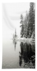 Bath Towel featuring the photograph Lake Louise Pine Trees Frost Landscape by Andrea Hazel Ihlefeld