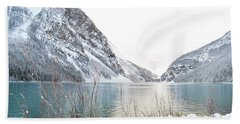Bath Towel featuring the photograph Lake Louise Snow Landscape by Andrea Hazel Ihlefeld