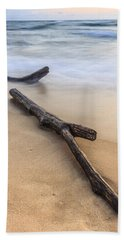 Hand Towel featuring the photograph Lake Michigan Beach Driftwood by Adam Romanowicz