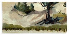 Lake Michigan Dune With Trees And Beach Grass Bath Towel