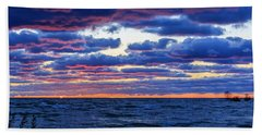 Lake Michigan Windy Sunrise Bath Towel by Joni Eskridge
