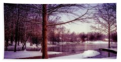 Lake Snow - Winter Landscape Hand Towel by Barry Jones