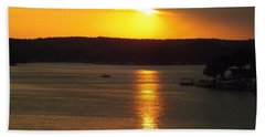 Bath Towel featuring the photograph Lake Sunset  by Don Koester