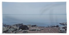 Lake Superior Shore In Duluth, Minnesota  Hand Towel
