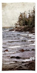 Bath Towel featuring the photograph Lake Superior Waves by Phil Perkins