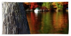 Lake Winnepesaukee Dock With Foliage In The Distance Hand Towel