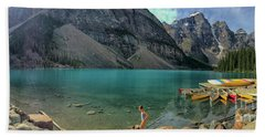 Lake With Kayaks Hand Towel