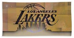 Hand Towel featuring the digital art Lakers Skyline by Alberto RuiZ