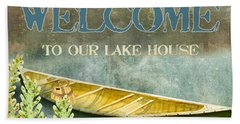 Lakeside Lodge - Welcome Sign Bath Towel