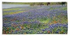 Hand Towel featuring the photograph Lakeside Texas Bluebonnets by David and Carol Kelly