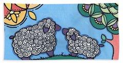 Lamb And Mama Sheep Hand Towel