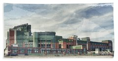 Bath Towel featuring the photograph Lambeau Field Painterly Edition by Joel Witmeyer
