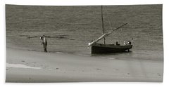 Lamu Island - Wooden Fishing Dhow Getting Unloaded - Black And White Hand Towel
