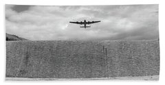 Bath Towel featuring the photograph Lancaster Over The Derwent Dam Bw Version by Gary Eason