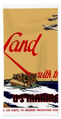 Land With The Us Marines Hand Towel