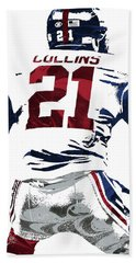 Hand Towel featuring the mixed media Landon Collins New York Giants Pixel Art 1 by Joe Hamilton