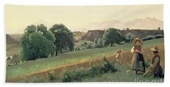 Landscape At Mornex Hand Towel by Jean Baptiste Corot