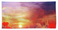Bath Towel featuring the digital art Landscape Of Dreaming Poppies by Valerie Anne Kelly