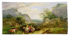 Landscape With Figures And Cattle Bath Towel