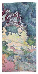 Landscape With Goats Hand Towel