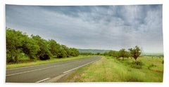 Landscape With Highway And Cloudy Sky Bath Towel