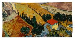 Bath Towel featuring the painting Landscape With House And Ploughman by Van Gogh