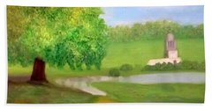 Landscape With Luxuriant Tree And Folly Hand Towel