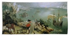 Landscape With The Fall Of Icarus Bath Towel