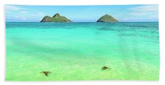 Bath Towel featuring the photograph Lanikai Beach Two Sea Turtles And Two Mokes by Aloha Art