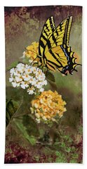 Bath Towel featuring the photograph Lantana And Incoming Butterfly by Diane Schuster