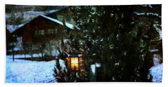 Lantern In The Woods Hand Towel