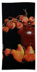 Lanterns And Pears Hand Towel by Susan Duda