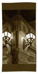 Lanterns - Night In The City - In Sepia Bath Towel by Ben and Raisa Gertsberg