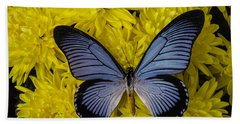 Large Blue Butterfly On Mums Bath Towel