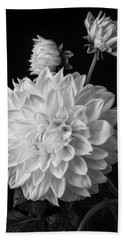 Large Dahlia In Black And White Hand Towel