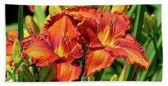 Large Deep Orange Tiger Lilys Hand Towel
