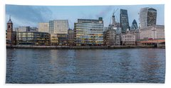 Large Panorama Of Downtown London Betwen The London Bridge And T Hand Towel