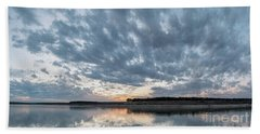 Large Panorama Of Storm Clouds Reflecting On Large Lake At Sunse Hand Towel