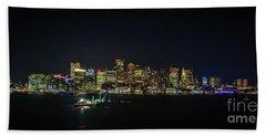 Large Panoramic Of Downtown Boston At Night Bath Towel