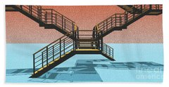 Large Stair 38 On Cyan And Strange Red Background Abstract Arhitecture Hand Towel by Pablo Franchi