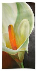 Large White Calla Bath Towel by Tracey Harrington-Simpson