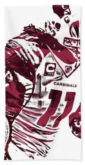 Hand Towel featuring the mixed media Larry Fitzgerald Arizona Cardinals Pixel Art 1 by Joe Hamilton