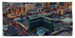 Bath Towel featuring the photograph Las Vegas Nv Strip Aerial by Susan Candelario