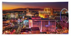 Bath Towel featuring the photograph Las Vegas Strip North View After Sunset by Aloha Art